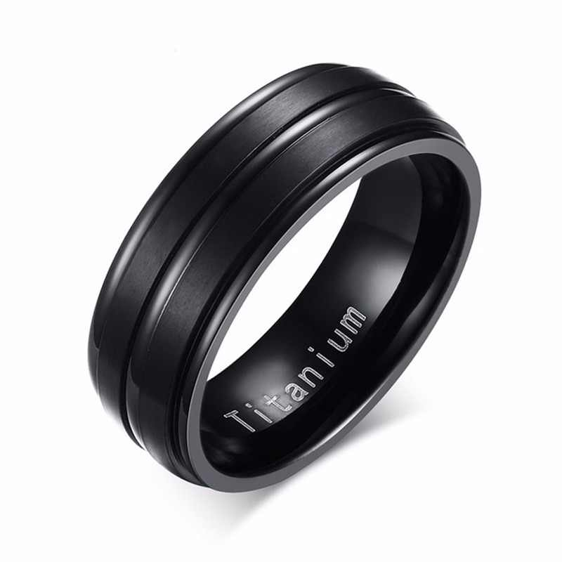 Meaeguet Classic Black 100% Titanium Carbide Wedding Rings For Men 3 Lines 8MM Wide Engagement Anel Jewelry