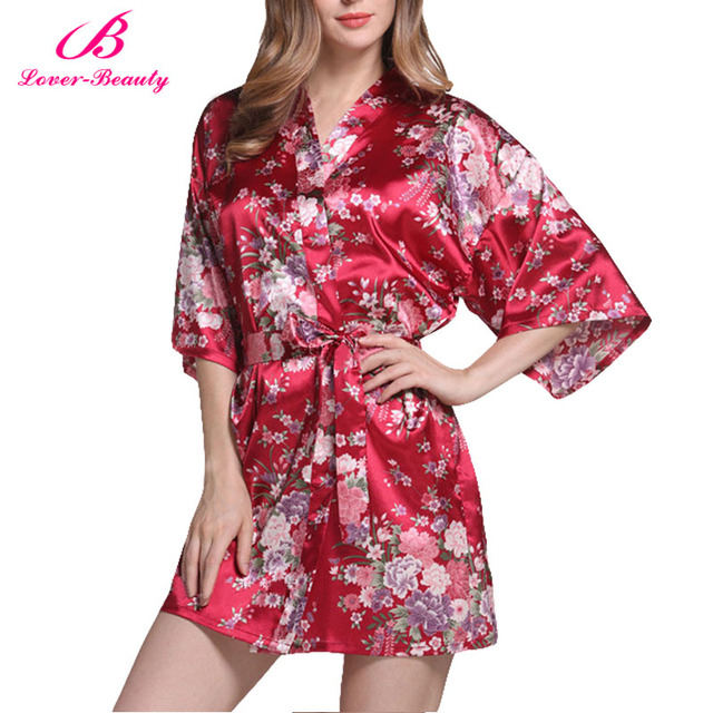 634cbca433 Lover Beauty Flower Girl Robe Silk Satin Wedding Bride Bridesmaid Robes  Floral Silk Bathrobe Short Kimono