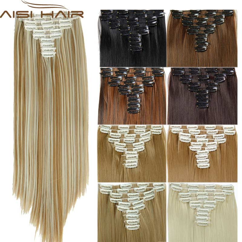 16 Colors Clip in Hair Extensions 25inch Long Straight Fake False Hair Extension Heat Resistant Synthetic