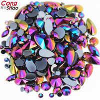 18g bolso mixto alrededor de 300 piezas cristal claro AB 3D uñas arte diamantes de imitación DIY no Hotfix piedras acrílicas planas para la cara decoraciones