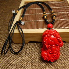 Natural large cinnabar brave pendant pendant necklace this life Lucky money transfer evil sweater chain men and women