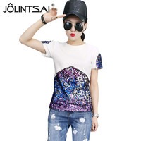 Plus Size T Shirt Women 2017 New Arrival Summer Fashion O Neck Short Sleeve Sequins T
