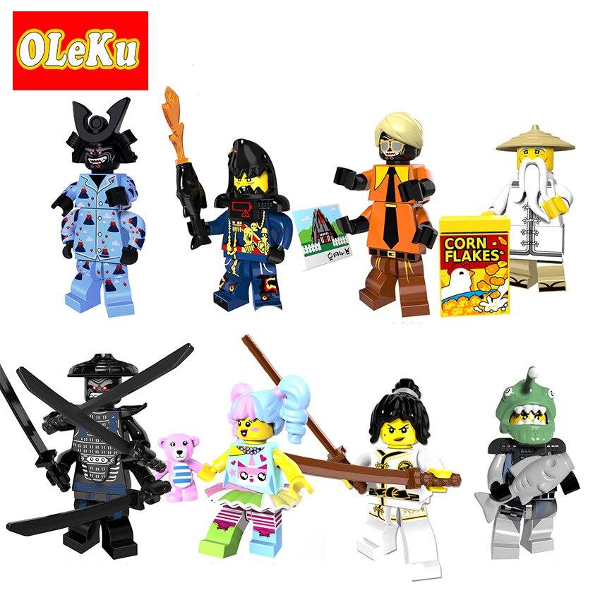 Single Sale Ninjagoing Movie Figures Bricks Nya Sensei Wu Master N POP Girls Garmadon Sharkman Pythor
