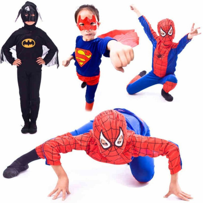 5 sets / lote Envío Gratis Kids Spiderman Superman Zorror Batman Disfraces Fiesta de Halloween Niños Niños Fancy Dress Cosplay ropa
