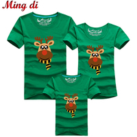 Ming Di Cartoon Christmas Deer Summer T Shirts 2017 Family Matching Outfits T Shirt Fashion Cotton