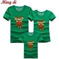 Ming Di 2016 Familia Familia Mirada de Trajes A Juego Camiseta de Algodón de Moda Ropa de Los Niños de Dibujos Animados Ciervos de la Navidad de Verano camisetas