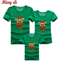 Ming Di 2016 Family Matching Outfits T Shirt Fashion Cotton Family Look Children Clothing Cartoon Christmas Deer Summer T shirts