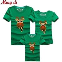 Ming Di Cartoon Christmas Deer Summer T Shirts 2017 Family Matching Outfits T Shirt Fashion Cotton