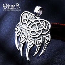Beier 316L stainless steel Amulet Viking Slavic God Symbol Warding Veles Bear Paw with lucky knot Pendant Necklace Jewelry LP291(China)