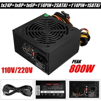 Black Max 800W Power Supply PSU PFC Silent Fan ATX 24 PIN PC Computer SATA Gaming PC Power Supply For Intel AMD Computer