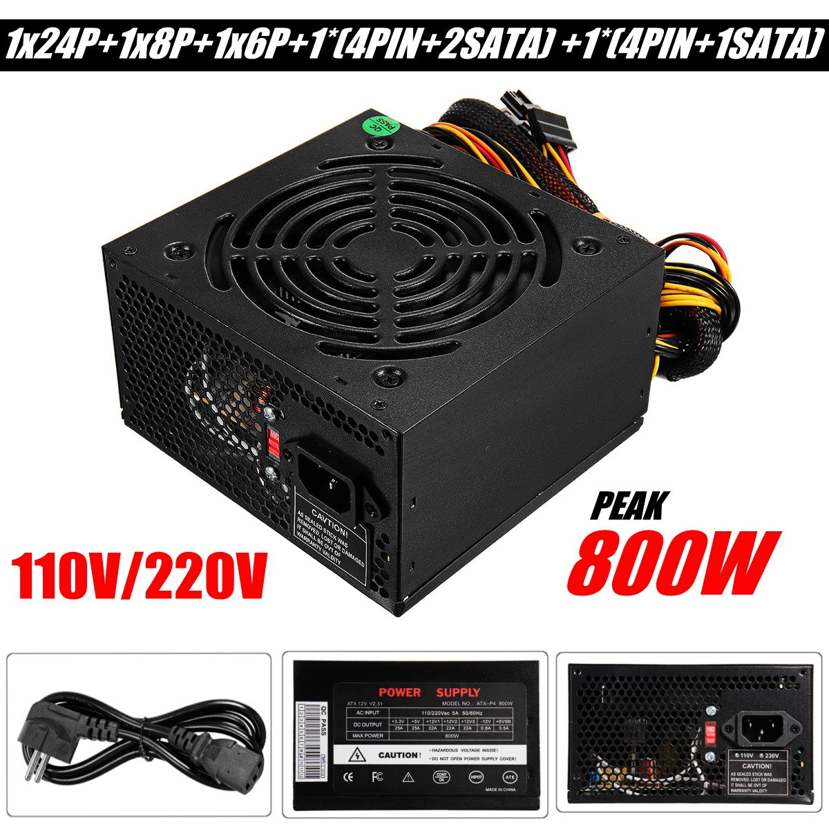 Noir Max 800 W alimentation PSU PFC ventilateur silencieux ATX 24 broches PC ordinateur SATA Gaming PC alimentation pour ordinateur Intel AMDNoir Max 800 W alimentation PSU PFC ventilateur silencieux ATX 24 broches PC ordinateur SATA Gaming PC alimentation pour ordinateur Intel AMD