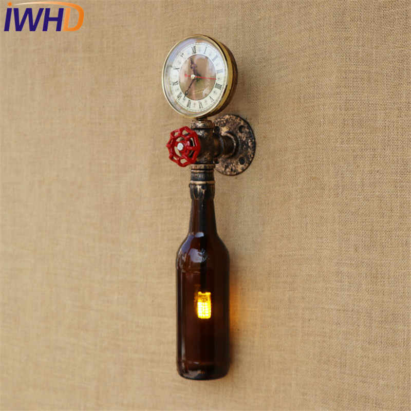 Стиль iwhd LOFT ретро железная фляга водопровод Бра промышленные Винтаж светодиодный настенные светильники Освещение в помещении
