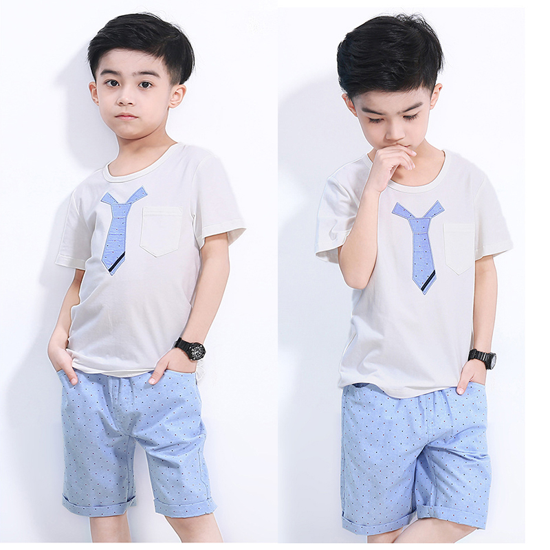 2 pcs set kids boys clothing set summer 2018 new kids cotton t shirts & dot shorts teenage boys clothes set children tracksuits