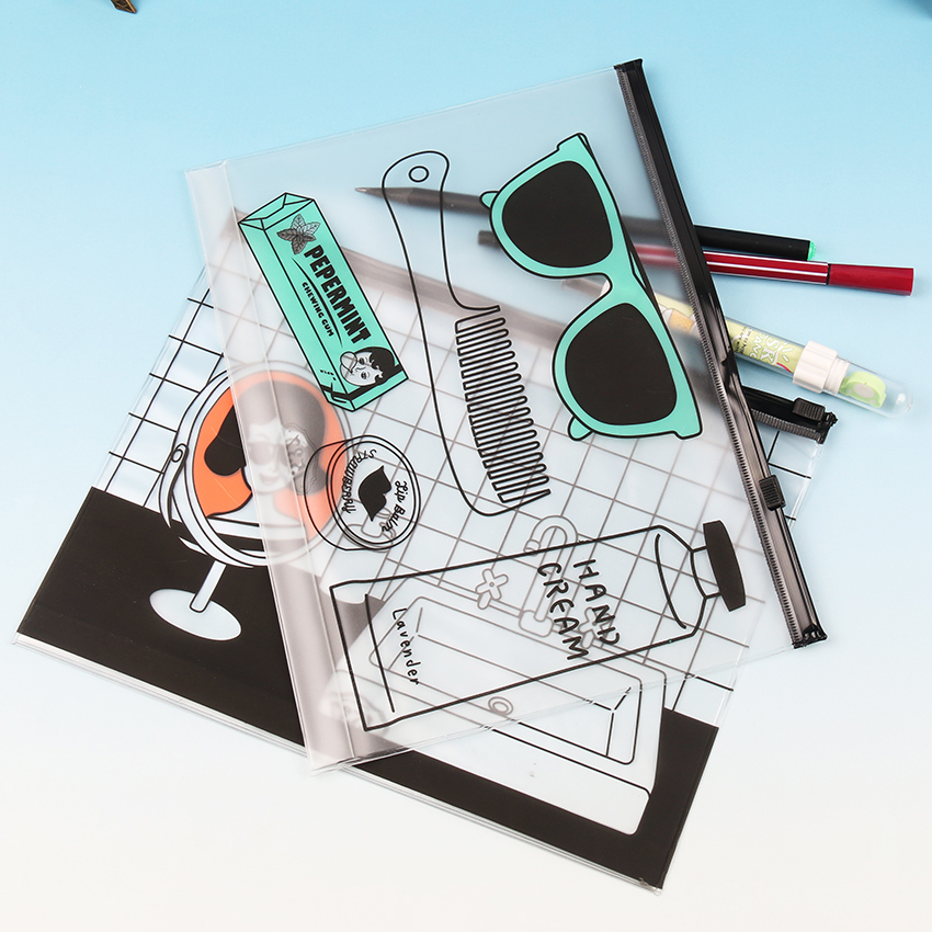 Color : Pink 10 Pcs//lot Pen Bags Gridding Waterproof Zip Bag Document Pen Filing Products Pocket Folder Office /& School Supplies Plastic Bag Transparent 30 Silk