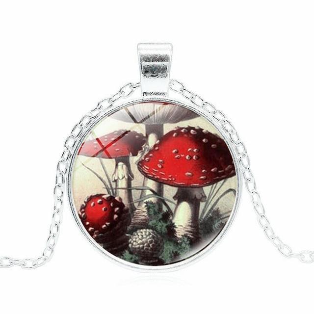Xushui xj fashion glass dome choke necklace red mushroom picture xushui xj fashion glass dome choke necklace red mushroom picture glass pendant silver chain necklace women aloadofball Images