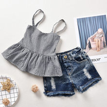 Kleine Verse Kids's Ding Meisjes Zomer Kleding Sets Peuter Baby Girl Kid Mouwloze Bandjes Plaid Tops + Jeans Shorts outfits Set(China)