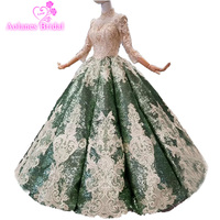 Prom Ball Gown Long Sleeve Dark Green Prom Dresses Luxury Sequins Sweetheart Long Evening Dress Special Occasion Party Gowns