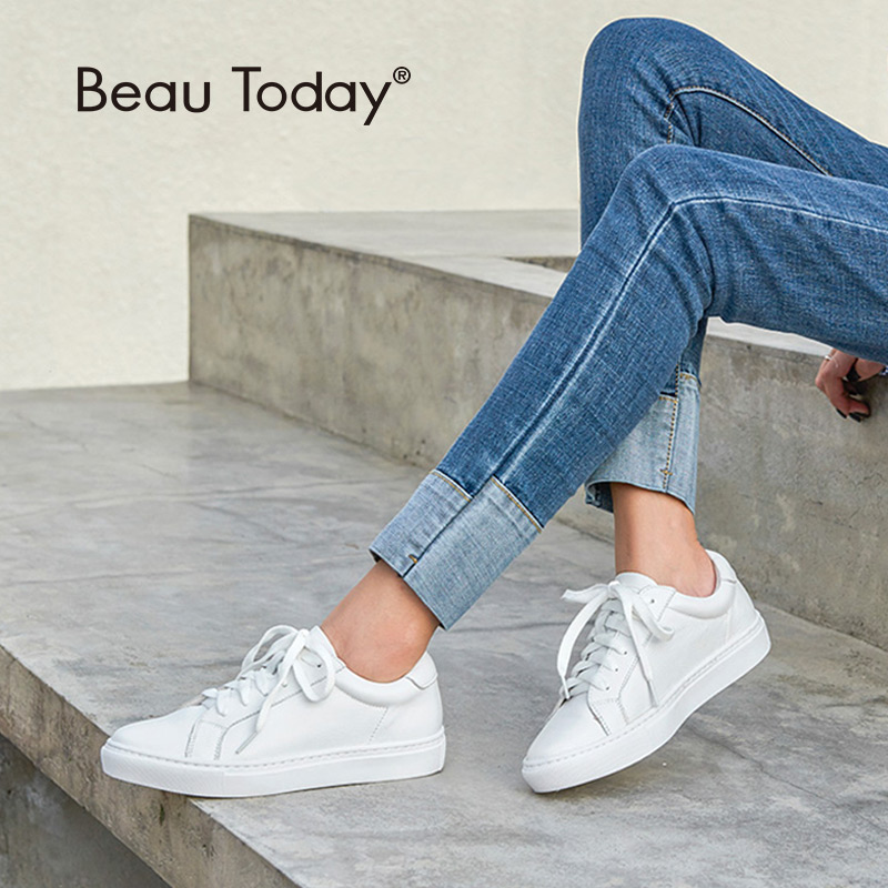 BeauToday White Shoes Women Sneakers Round Toe Lace Up Genuine Cow Leather Lady Flats Derby Shoes