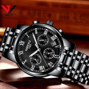 Image 3 - Relojes de marca de lujo para hombres, cronógrafo NIBOSI, relojes deportivos negros para hombres, relojes de negocios de acero completo a prueba de agua para hombres, reloj Masculino
