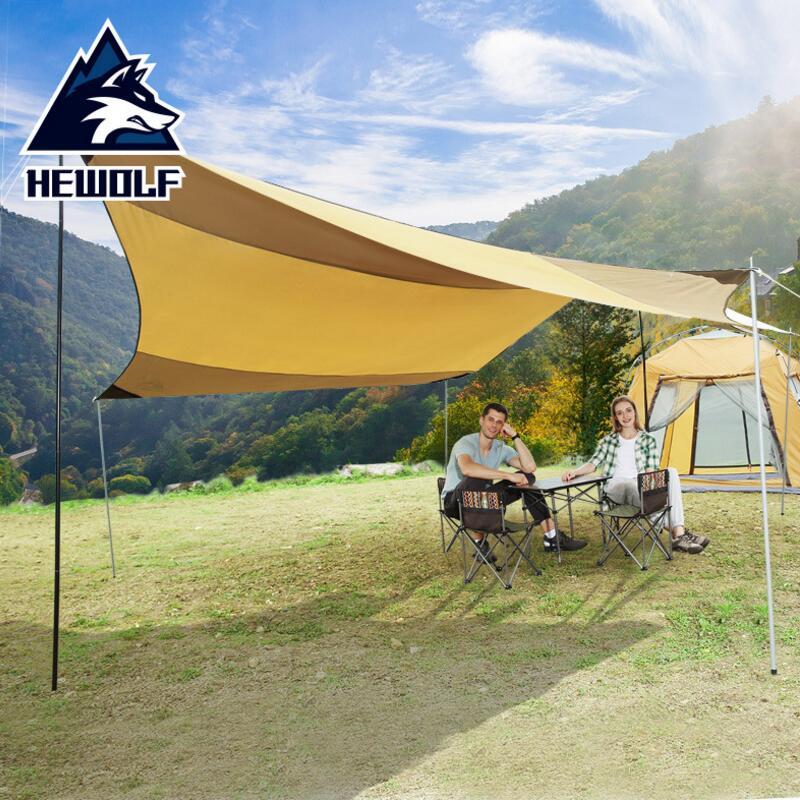Hewolf soleil ombre plage auvent tente étanche camping voiture tente auvent extérieur 10 personnes gazebo fête tente abri bâche 5*5 M