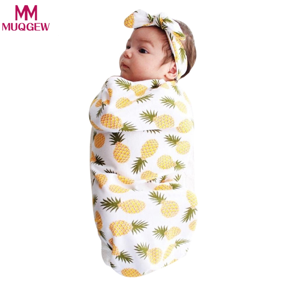 2018 Newborn Fashion Baby Swaddle Blanket Spring Summer Baby Sleeping Swaddle Muslin Wrap Headband Baby Blanket Outfits Sets