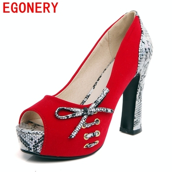 EGONERY fashion pumps women 2018 summer autumn platform high heels red wedding shoes peep toe bowties plus size woman pumps 43