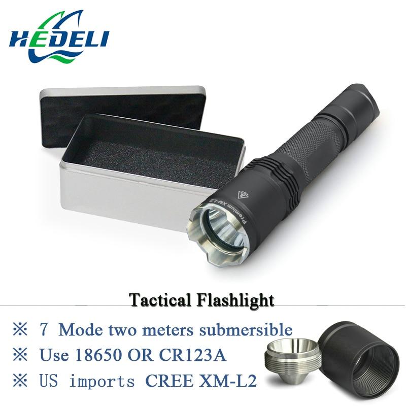 Led lampe torche tactique cree XM-L2 Rechargeable 1000lm Super Lumineux professionnel tactique fonction Lanterne 18650 Batterie chasse