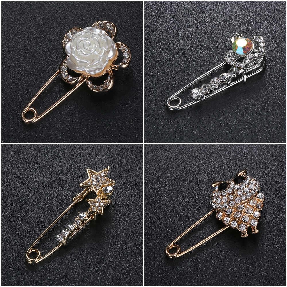 Vintage Kristal Safety Bros Pin Berbagai Macam Bentuk Jantung Busur Bunga Kupu-kupu Burung Hantu Burung Merak Fashion Rhinestonesr Wanita Dekorasi
