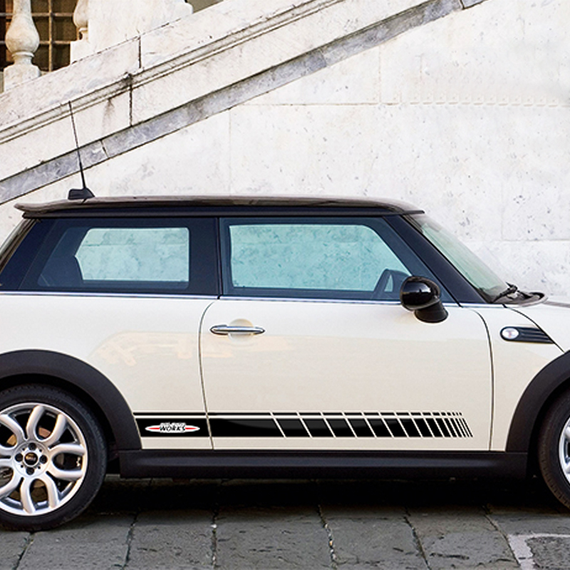 Jupe latérale de porte de voiture JCW Racing rayures décalcomanie et autocollant décoration pour MINI Cooper S JCW R56 R55 F55 F56 R60 Countryman Clubman