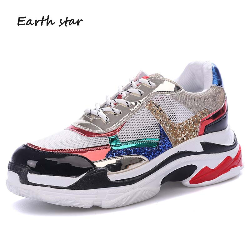 EARTH STAR Summer Girl New Fashion Brand Shoes Women Glitter Sneakers Cross  tied Sequins Lady Platform Shoes Bling Breathable-in Women s Vulcanize Shoes  ... 2b6c3b1d2408
