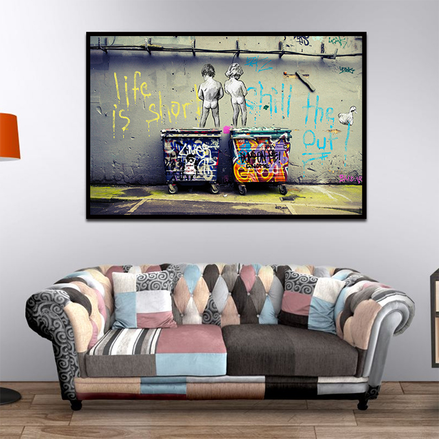 """HTB1gK7VacfrK1Rjy1Xdq6yemFXaS Banksy Graffiti Art Abstract Canvas Painting Posters and Prints """"Life Is Short Chill The Duck Out"""" Wall Canvas Art Home Decor"""