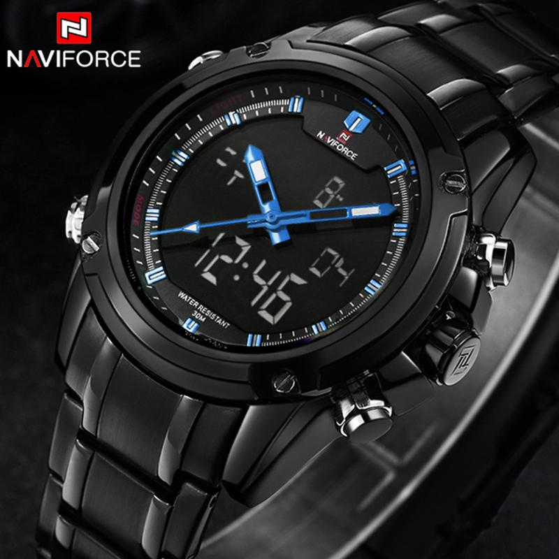 Prix pour Haut de luxe marque naviforce hommes militaire étanche led horloge mâle montre-bracelet de sport montres hommes relogio masculino 2017