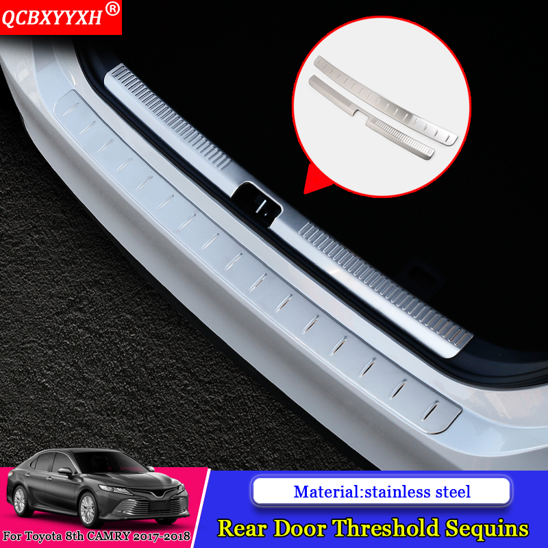 QCBXYYXH Car-styling Car Internal External Scuff Plate/ Door Sill Threshold Trim Auto Accessories For Toyota 8th Camry 2017 2018 carbon fiber vnyl door sill scuff plate welcome pedal threshold protect stickers for mazda cx 5 cx5 2014 2015 8pcs car styling