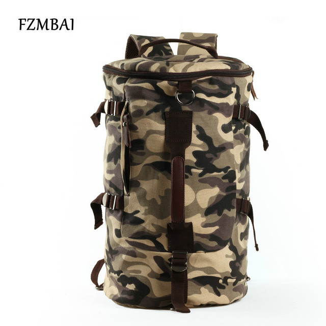 fce9cbbb95 FZMBAI Unisex Large Capacity Travel Canvas Bag Men s Army Style Backpacks  College Student Multifunction Leisure Bags