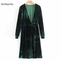 SheMujerSky Velvet Long Kimono Cardigan Women Long Sleeve Blouse Deep V Neck Sexy Top Autumn Winter