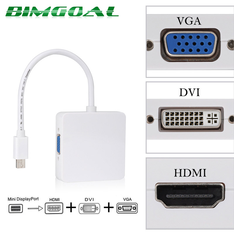 3 in 1 Mini DP DisplayPort <font><b>to</b></font> HDMI/<font><b>DVI</b></font>/<font><b>VGA</b></font> Display Port <font><b>Cable</b></font> Adapter for Apple MacBook Pro image