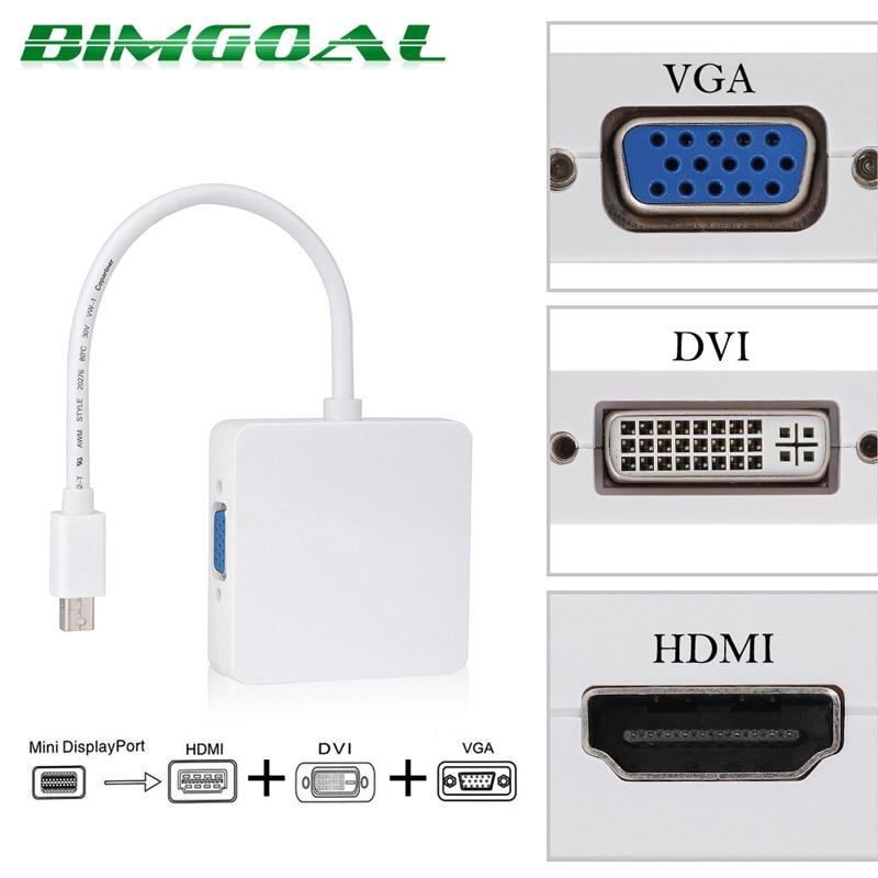 New 3 in1 Thunderbolt Mini DisplayPort DP To HDMI DVI VGA Adapter For MacBook Pro Air