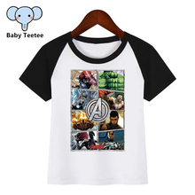 Boys and Girls Marvel Avengers End Game Cartoon Diy Print T shirt Baby Kids Funny Clothes Children Summer T-shirt