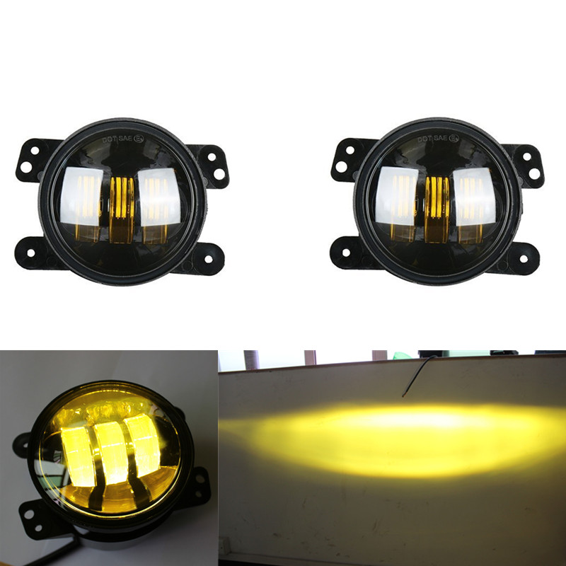 4inch LED Amber Fog Lights For 2007-2017 Jeep Wrangler JK & Wrangler Unlimited Pair left hand a pillar swith panel pod kit with 4 led switch for jeep wrangler 2007 2015