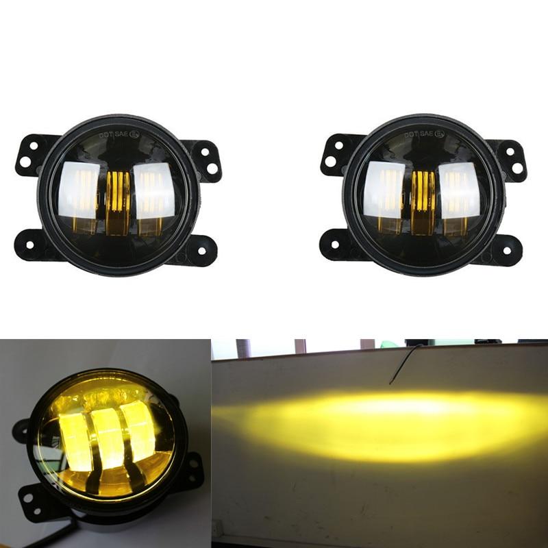 4inch LED Amber Fog Lights For 2007-2017 Jeep Wrangler JK & Wrangler Unlimited Pair 2 piece set locking hood look catch hood latches kit for jeep wrangler jk rubicon sahara unlimited 2007 2016