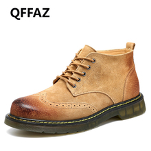 QFFAZ 2018 New Men Ankle Boots Fashion Spring Footwear Suede Leather Men shoes Lace Up Casual Short Boot Brown Khaki Men Boots