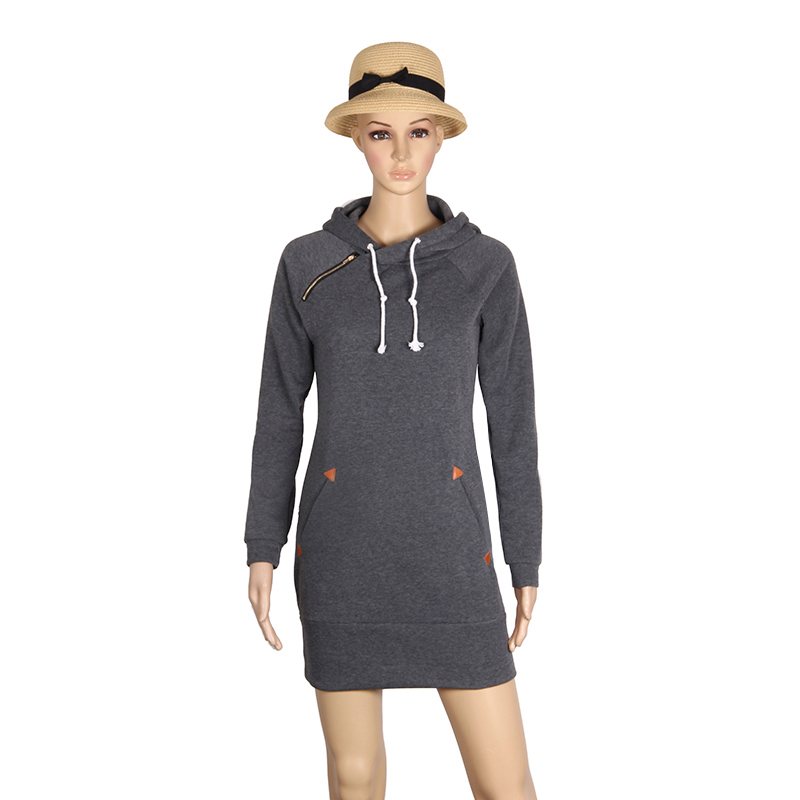 Warm Winter High Quality Hooded Dresses Pocket Long Sleeved Casual Mini Dress Sportwear Women Clothings LX130 3