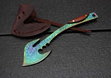 Dream Color Damascus Mini Axes,Gift Rescue Pocket Axe,Collection Survival Fire Axe.Outdoor Tools Small Fixed Knife.