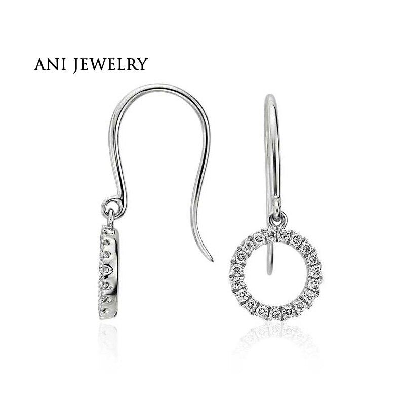 ANI 14k White Gold Women Drop Earrings 0.18 ct Certified I/SI1 Real Diamond Jewelry Round Dangle Earrings for Women Engagement