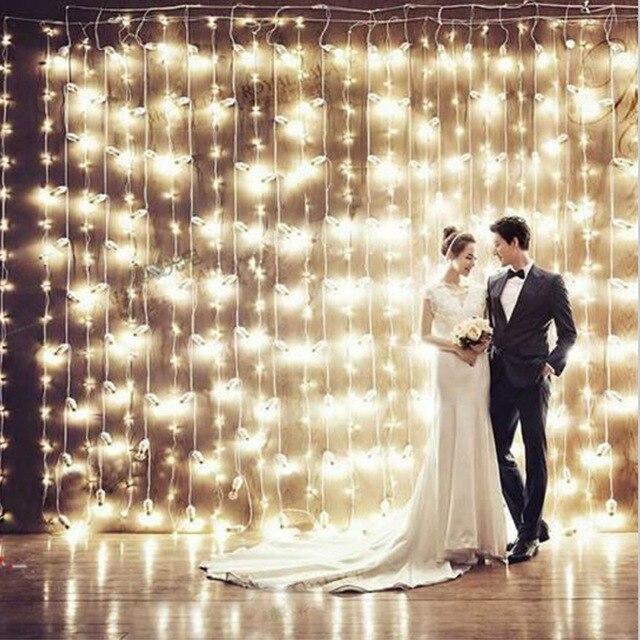 Рождество фонари светодиодные строки мигает огни занавес водонепроницаемый открытый праздник света 3*3 м 300 светодиоды
