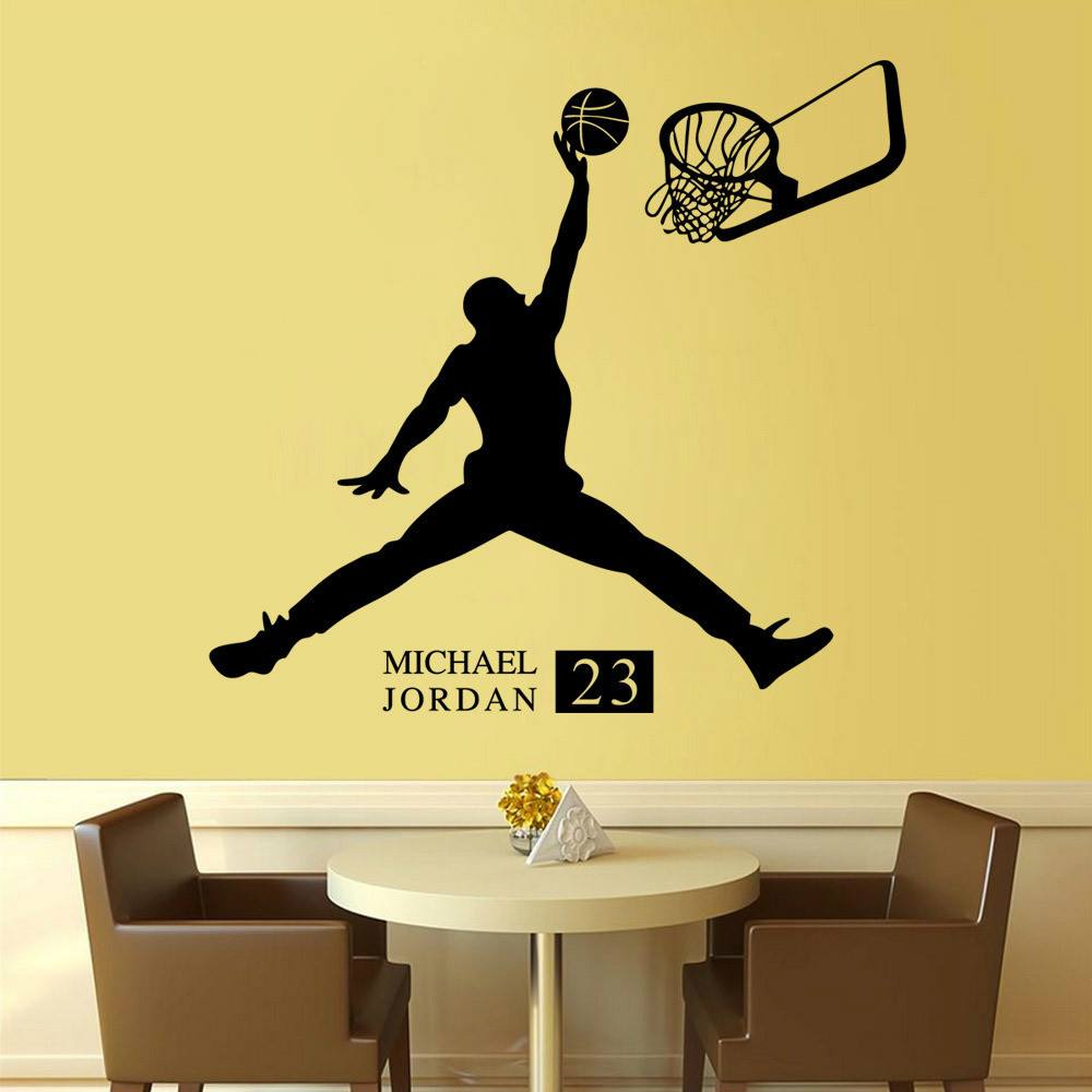 Michael Jordan Play Basketball Wall Stickers Home Decors Basketball Sports  Wall Decals For Kids Room Decoration Vinyl Stickers In Wall Stickers From  Home ...