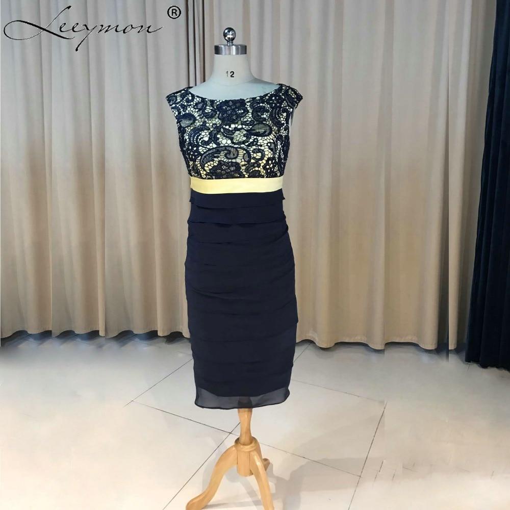 Elegant Navy Blue Lace Tea Length Mother of the Bride Dresses With Jacket 2019 Madrinha Mother Bride Gown Vestido de