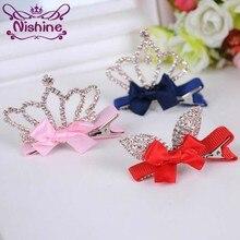 Pinzas para el cabello Nishine 1 Uds. Para niñas, corona brillante, horquillas de Princesa con diamantes de imitación, lazo con orejas de conejo para niños, accesorios para el cabello fiesta