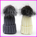 2016 Casual Fashion Children Girls Winter Warm Beanie Fur Hat Real Fox Pompom Ball Caps Hats For Baby Kids
