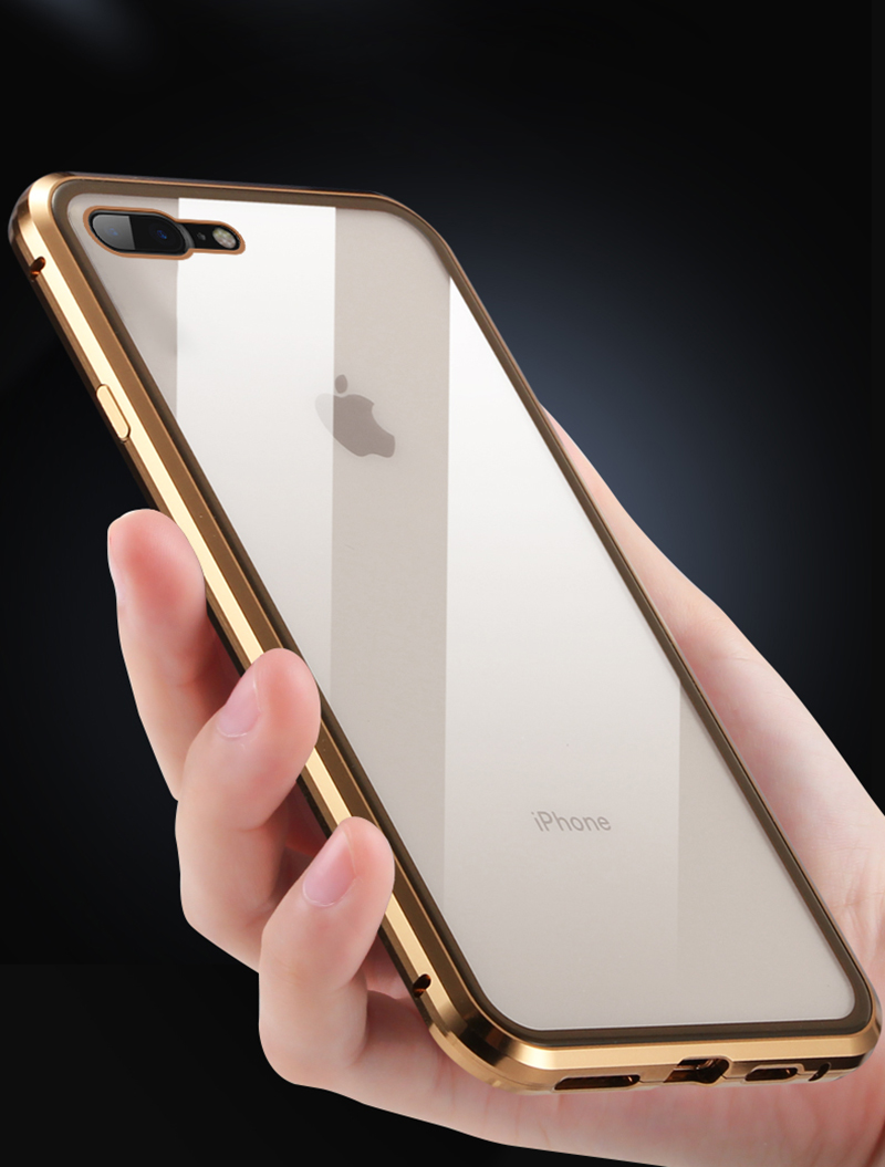 Luxury Double sided front+back clear glass metal Magnetic case for iphone 7 8 plus iphone X XR XS Max phone case 360 cover coque (6)